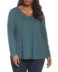 Eileen Fisher | Blue Organic Cotton V-neck Top | Lyst