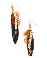 Panacea | Metallic Feather Chain Earrings | Lyst