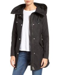 Guess - Black Lace-up Hooded Utility Coat - Lyst