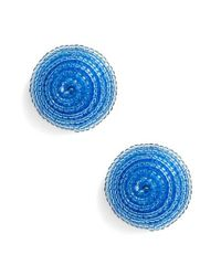 Kate Spade - Blue The Bead Goes On Button Stud Earrings - Lyst