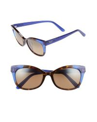 Maui Jim - Ilima 53mm Polarizedplus2 Cat Eye Sunglasses - Dark Tortoise/ Electric Blue - Lyst