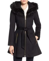 Laundry by Shelli Segal - Black Laundry By Shelly Segal Faux Fur Trim Wool Blend Fit & Flare Coat - Lyst
