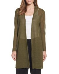 Eileen Fisher - Green Hemp Blend Long Cardigan - Lyst