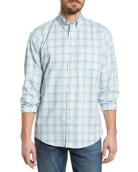 Nordstrom - Blue Tech-smart Regular Fit Plaid Sport Shirt for Men - Lyst