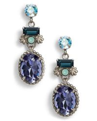 Sorrelli - Blue Bergenia Crystal Drop Earrings - Lyst