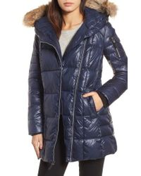 Andrew Marc - Blue Down & Feather Fill Coat With Genuine Coyote Fur - Lyst