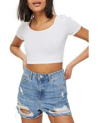 TOPSHOP - White Scoop Neck Crop Top - Lyst