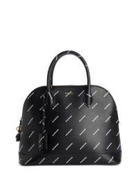 Balenciaga - Black Allover Logo Leather Dome Satchel - Lyst