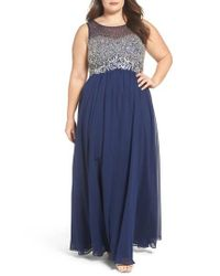 Decode 1.8 - Blue Beaded Illusion Bodice A-line Gown - Lyst