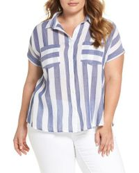 Lucky Brand - Blue Stripe Back Tie Shirt - Lyst