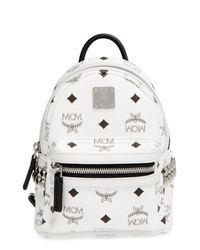MCM - White Stark Side Studs Bebe Boo Backpack In Visetos - Lyst