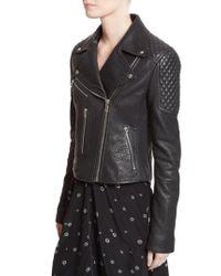 Proenza Schouler - Black Pebbled Leather Moto Jacket - Lyst