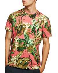 Topman - Green Floral Print Classic Fit T-shirt for Men - Lyst