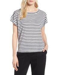 Eileen Fisher - White Stripe Boxy Organic Linen Top - Lyst