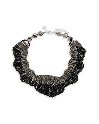 Panacea - Black Beaded Statement Collar Necklace - Lyst
