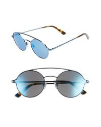 Web - 56mm Round Aviator Sunglasses - Shiny Blue/ Blue Mirror - Lyst