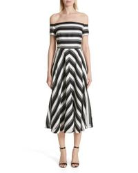 Lela Rose - Black Cotton & Silk Off The Shoulder Midi Dress - Lyst