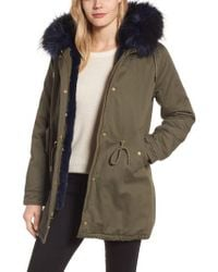 Laundry by Shelli Segal | Multicolor Faux Fur Lined Twill Parka | Lyst