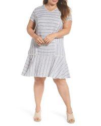 Caslon - Multicolor Caslon Raw Edge Stripe Linen Blend Dress - Lyst