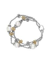 Lagos - Metallic 'luna' Pearl Three-strand Line Bracelet - Lyst