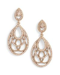Jenny Packham - Metallic Openwork Crystal Drop Earrings - Lyst