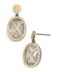 Freida Rothman - Metallic 'harlequin Edge' Cubic Zirconia Drop Earrings - Lyst