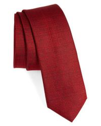 Calibrate | Red Saffron Solid Silk Skinny Tie for Men | Lyst