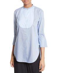 Helmut Lang | Blue Ottoman Tuxedo Shirt | Lyst