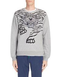 KENZO - Gray Big Tiger Print & Embroidered Sweatshirt for Men - Lyst