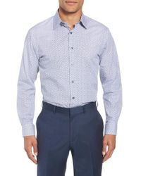 Nordstrom - Blue Trim Fit Floral Dress Shirt for Men - Lyst