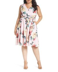 Tahari - Multicolor Floral Print Tie Waist Fit & Flare Dress - Lyst