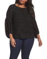 Vince Camuto - Black Eyelash Knit Bubble Sleeve Sweater - Lyst
