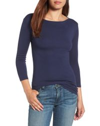 Caslon - Blue Caslon Three Quarter Sleeve Tee - Lyst