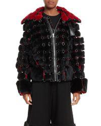 Noir Kei Ninomiya - Black Faux Fur Jacket With Chain Mail Detail - Lyst