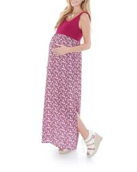 Everly Grey - Pink 'maisie' Maternity Maxi Dress - Lyst