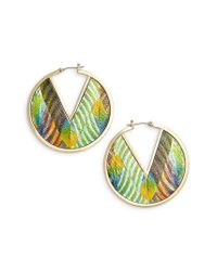 Vince Camuto - Blue Inlaid Leather Click Top Hoop Earrings - Lyst