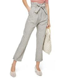 TOPSHOP - Blue Belted Stripe Roll-cuff Trousers - Lyst