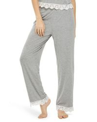 TOPSHOP - Gray Crochet Trim Pajama Pants - Lyst