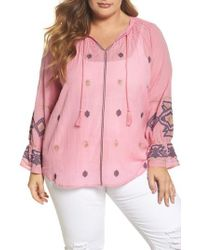 Lucky Brand - Pink Metallic Embroidered Top - Lyst