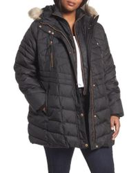 Andrew Marc | Black Marley Down Coat With Detachable Faux Fur | Lyst