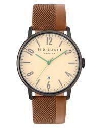 Ted Baker | Metallic Daniel Leather Strap Watch | Lyst