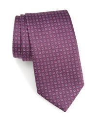 Ferragamo | Purple Geo Print Silk Tie for Men | Lyst