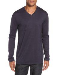 BOSS - White 'tyson' V-neck Long Sleeve T-shirt for Men - Lyst