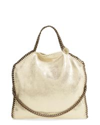 Stella McCartney - Yellow Falabella Shaggy Deer Metallic Faux Leather Tote - Lyst
