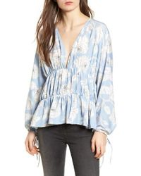 Moon River - Blue Floral Tiered Top - Lyst