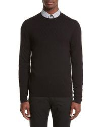 Armani - Black Plated Crewneck Sweater for Men - Lyst