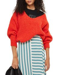 TOPSHOP - Red Oversized V-neck Sweater - Lyst