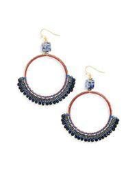 Nakamol - Blue Bachubai Crystal & Chain Hoop Earrings - Lyst