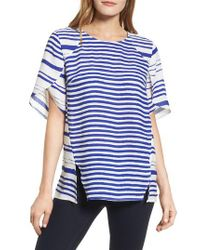 Chaus - Blue Tulip Sleeve Stripe Blouse - Lyst