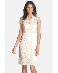 Dessy Collection | Natural Lace Overlay Matte Satin Dress | Lyst